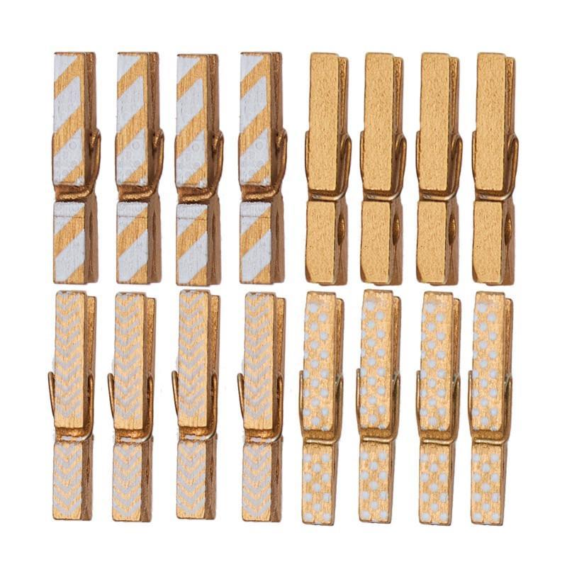 Pince décorative de Noël en bois couleur or