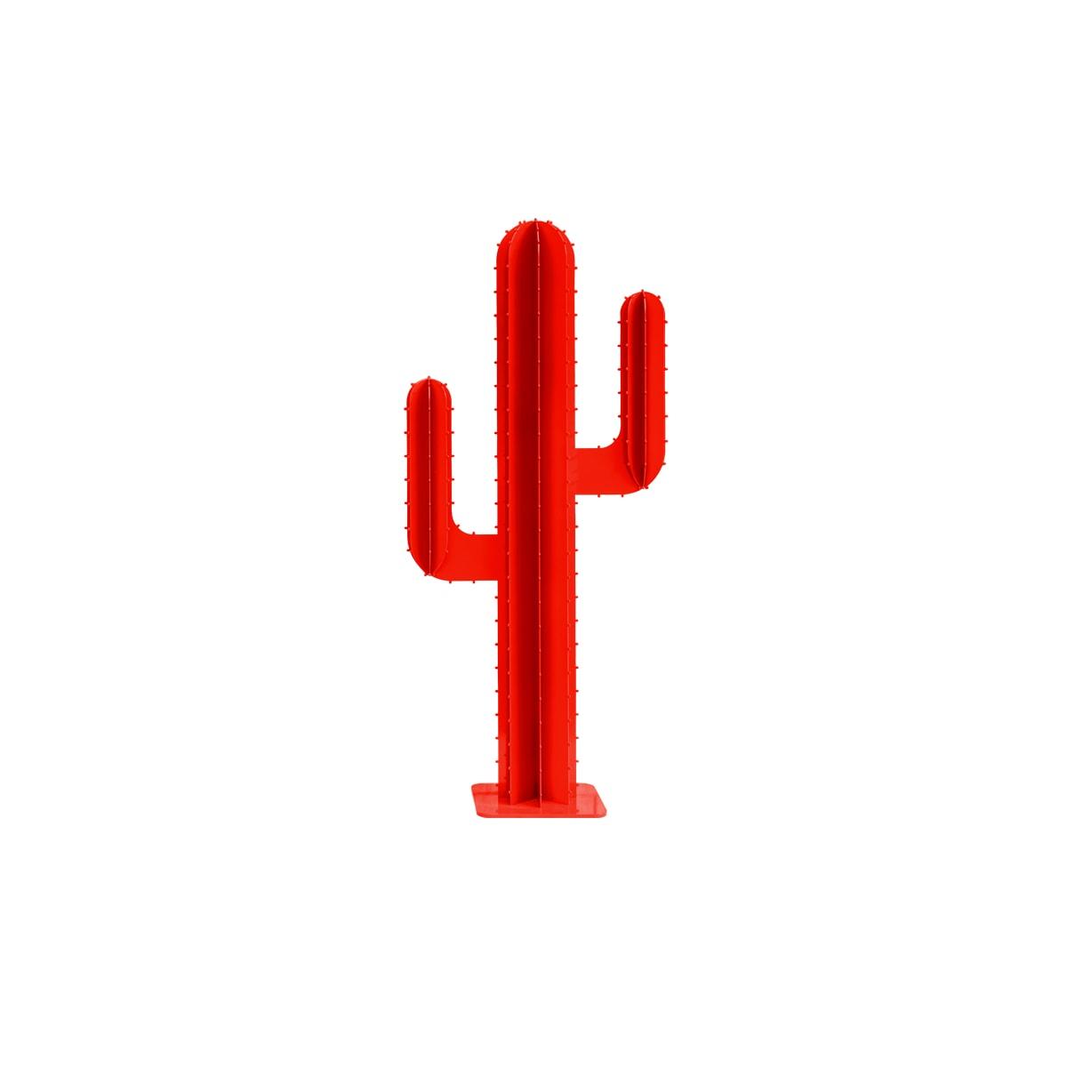 Cactus 2 branches mini en aluminium rouge H30cm