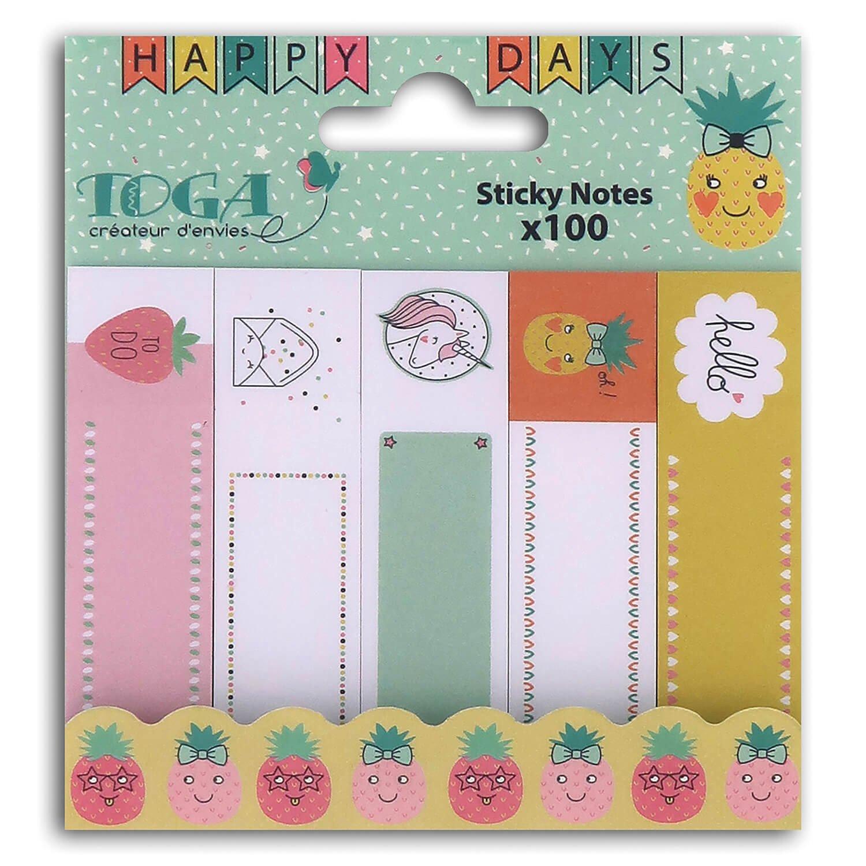 Lot de 100 sticky notes happy days