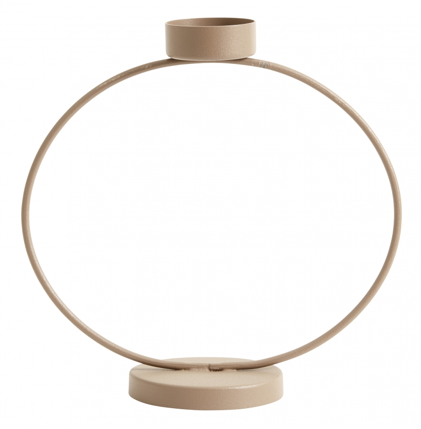Bougeoir en métal beige H18cm