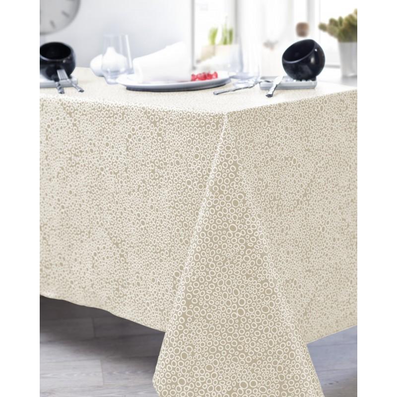 Nappe en coton enduit PVC crème ronde 160 cm