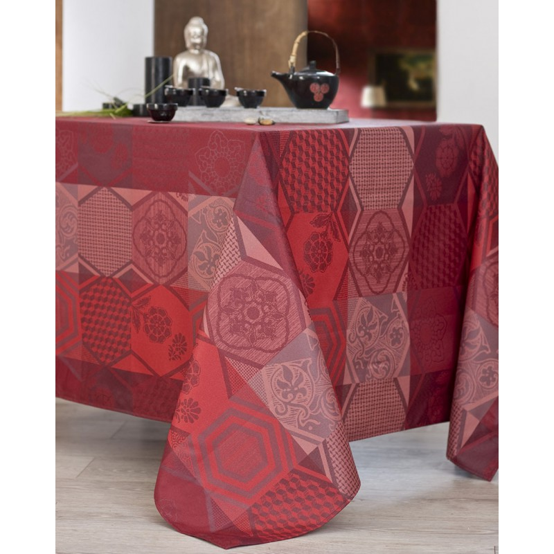 Nappe jacquard enduit acrylique bordeaux 160x200 cm