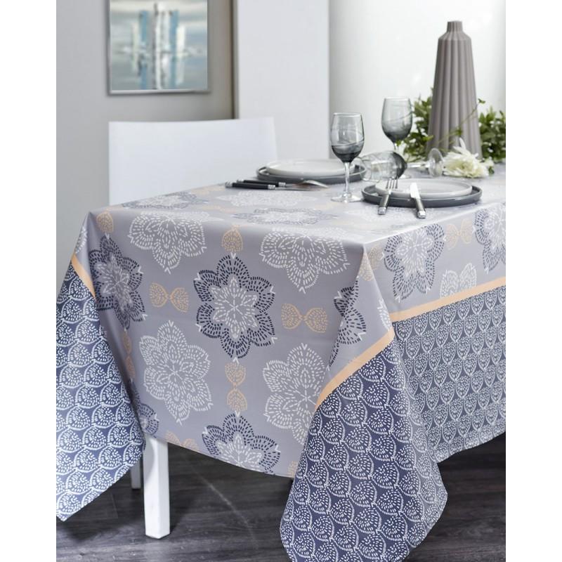 Nappe en coton enduit acrylique indigo 160x200 cm