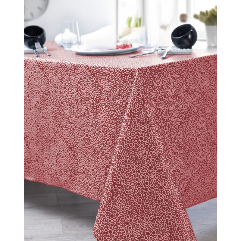 Nappe en coton enduit PVC rouge ronde 160 cm