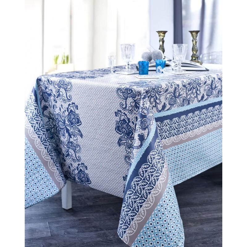Nappe en coton enduit acrylique navy 160x200 cm