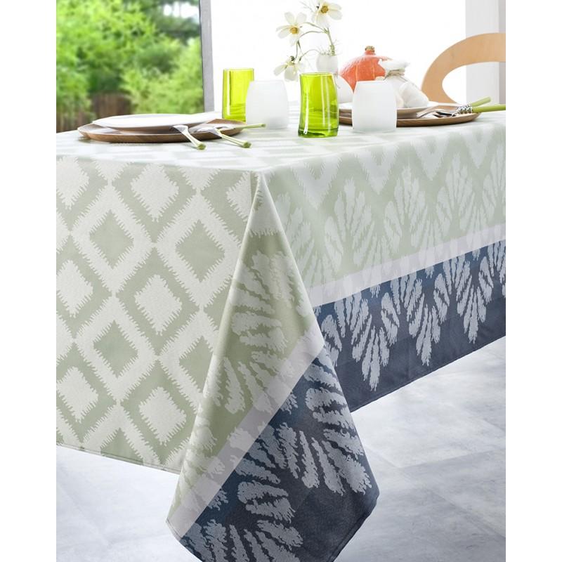 Nappe jacquard enduit acrylique celadon 160x350 cm