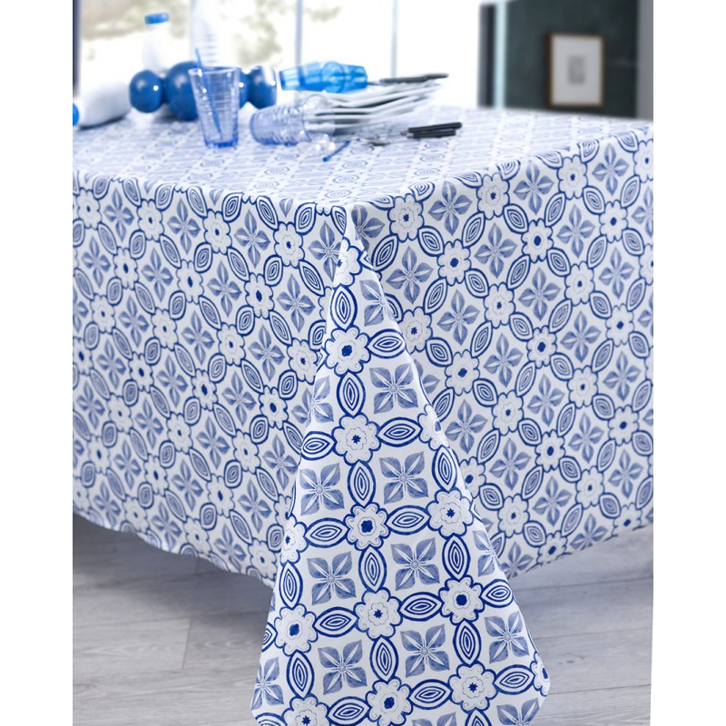 Nappe en coton enduit acrylique bleu ronde 160 cm