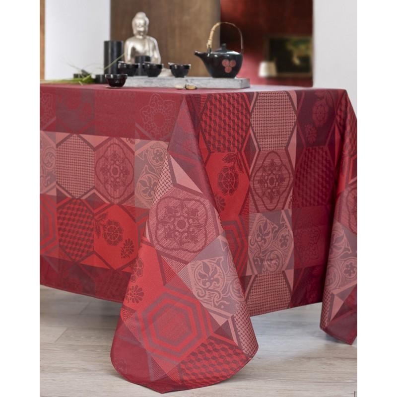 Nappe jacquard enduit acrylique bordeaux 170x300 cm