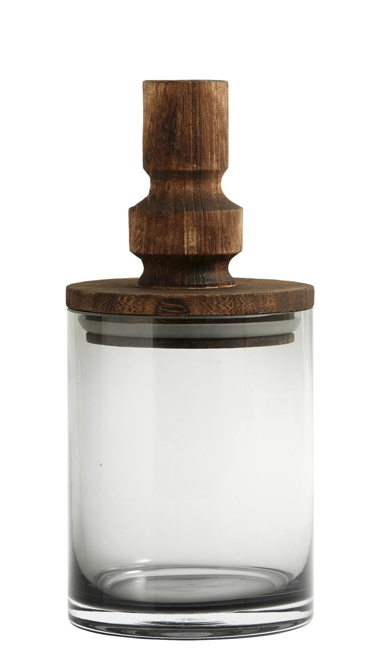 Pot en verre gris H24cm
