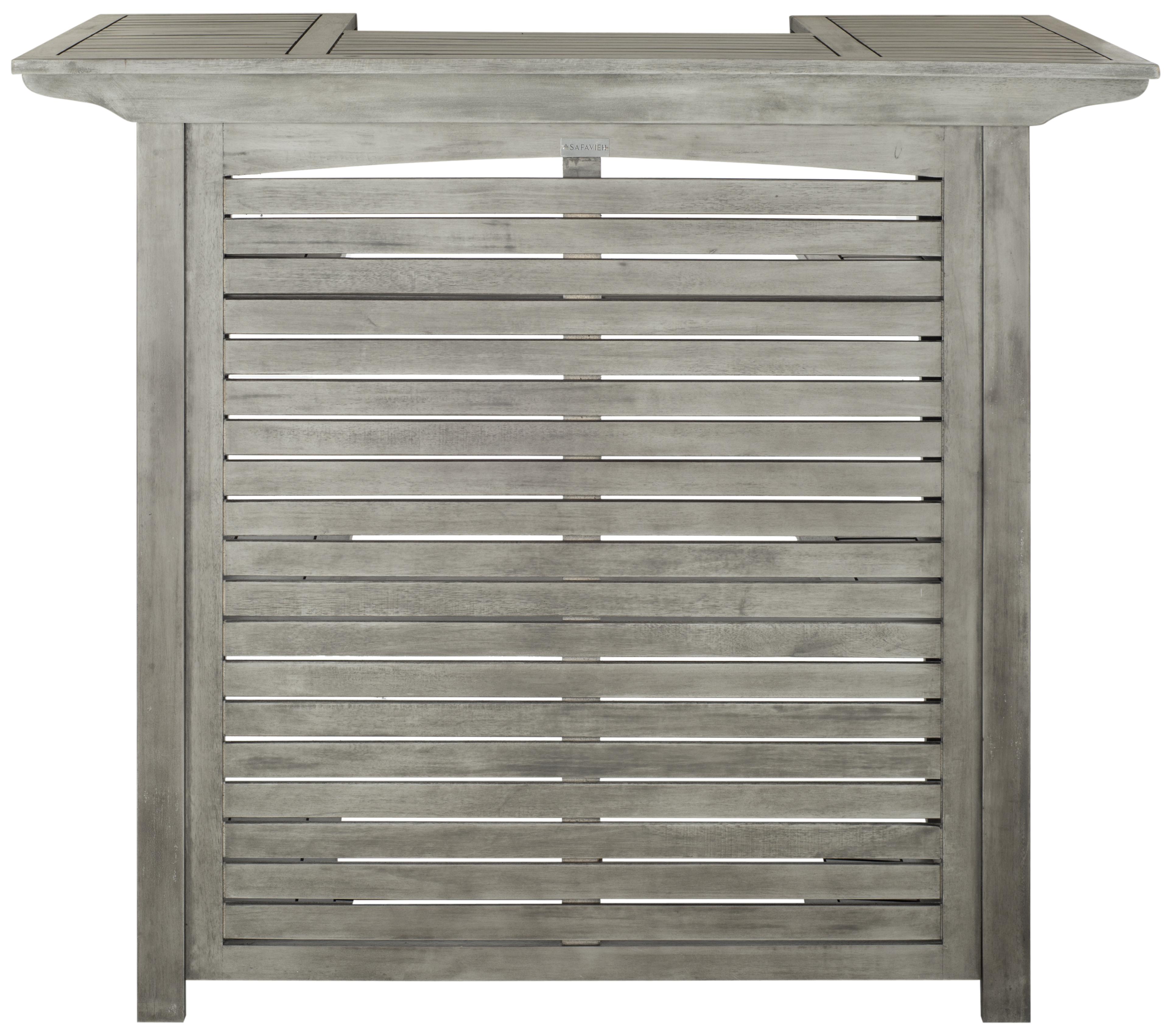 Table de bar intérieur/extérieur en acier et bois d'acacia gris