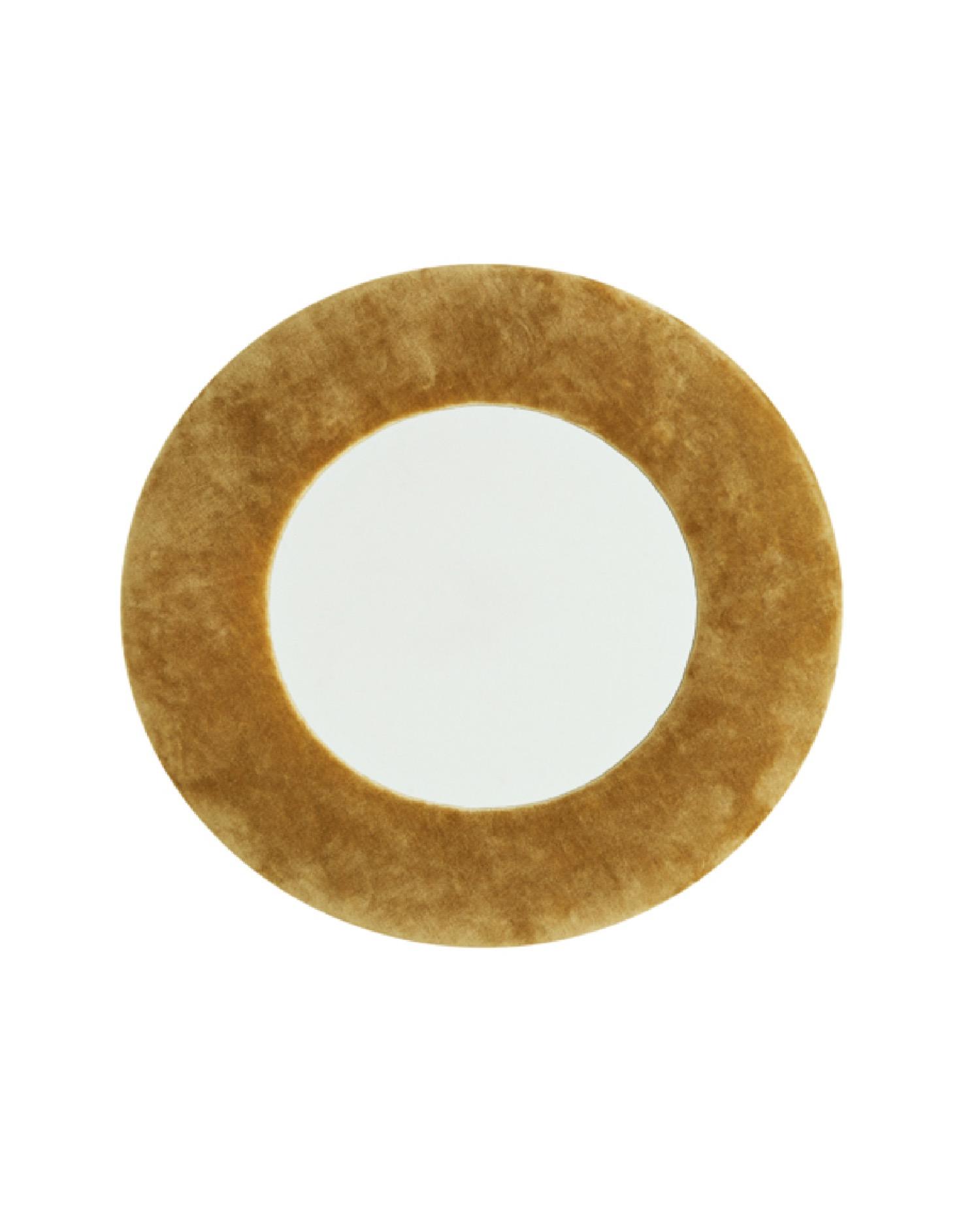 Miroir décoratif en métal et velours jaune D40cm