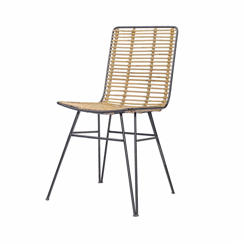 Chaise de salon en rotin et métal