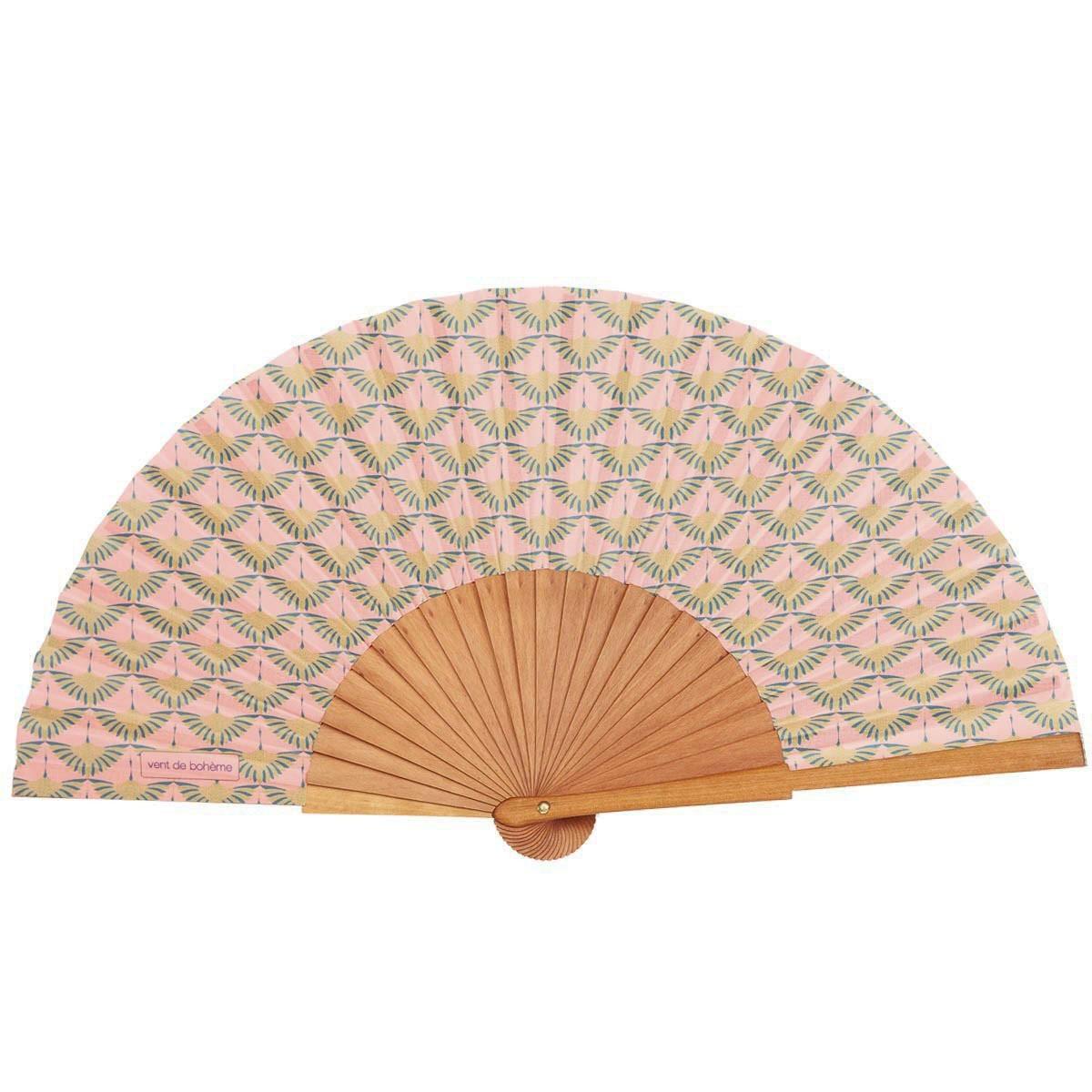 Éventail en bois de merisier et coton imprimé rose