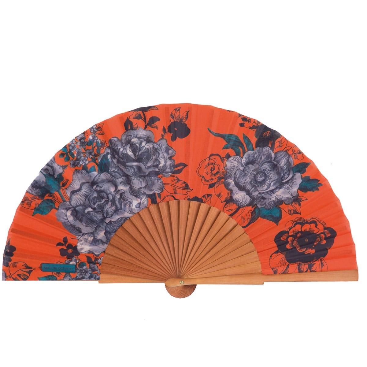 Éventail en bois de merisier et coton imprimé fleuri orange