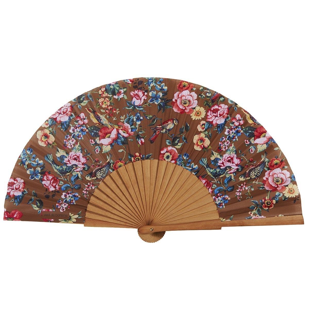 Éventail en bois de merisier et coton imprimé fleuri bronze