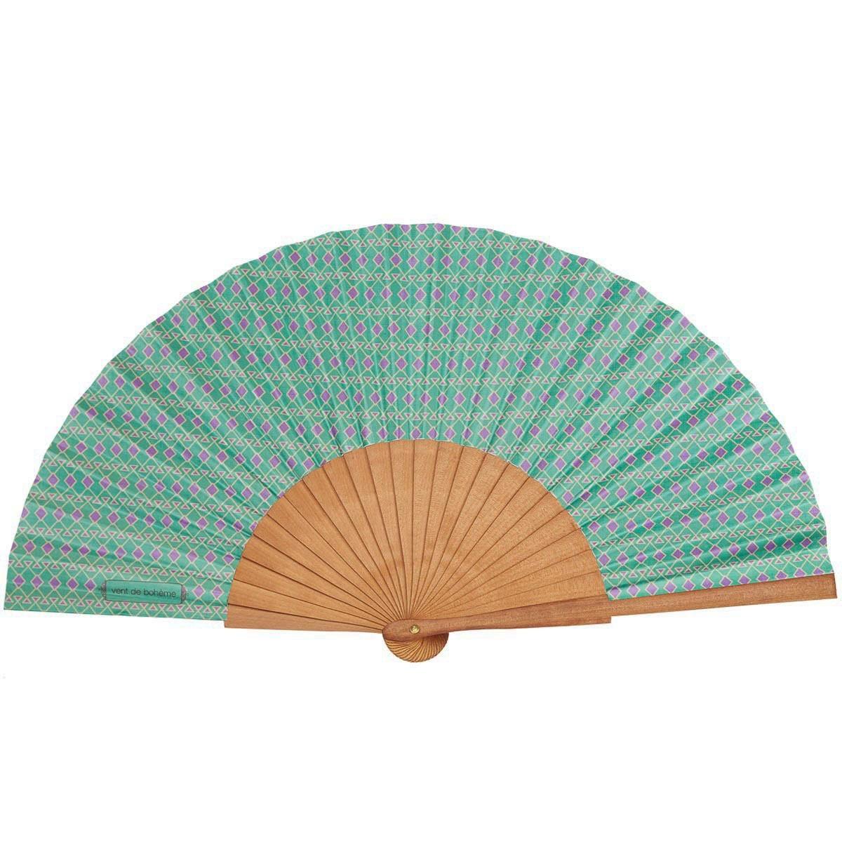 Éventail en bois de merisier et coton imprimé vert