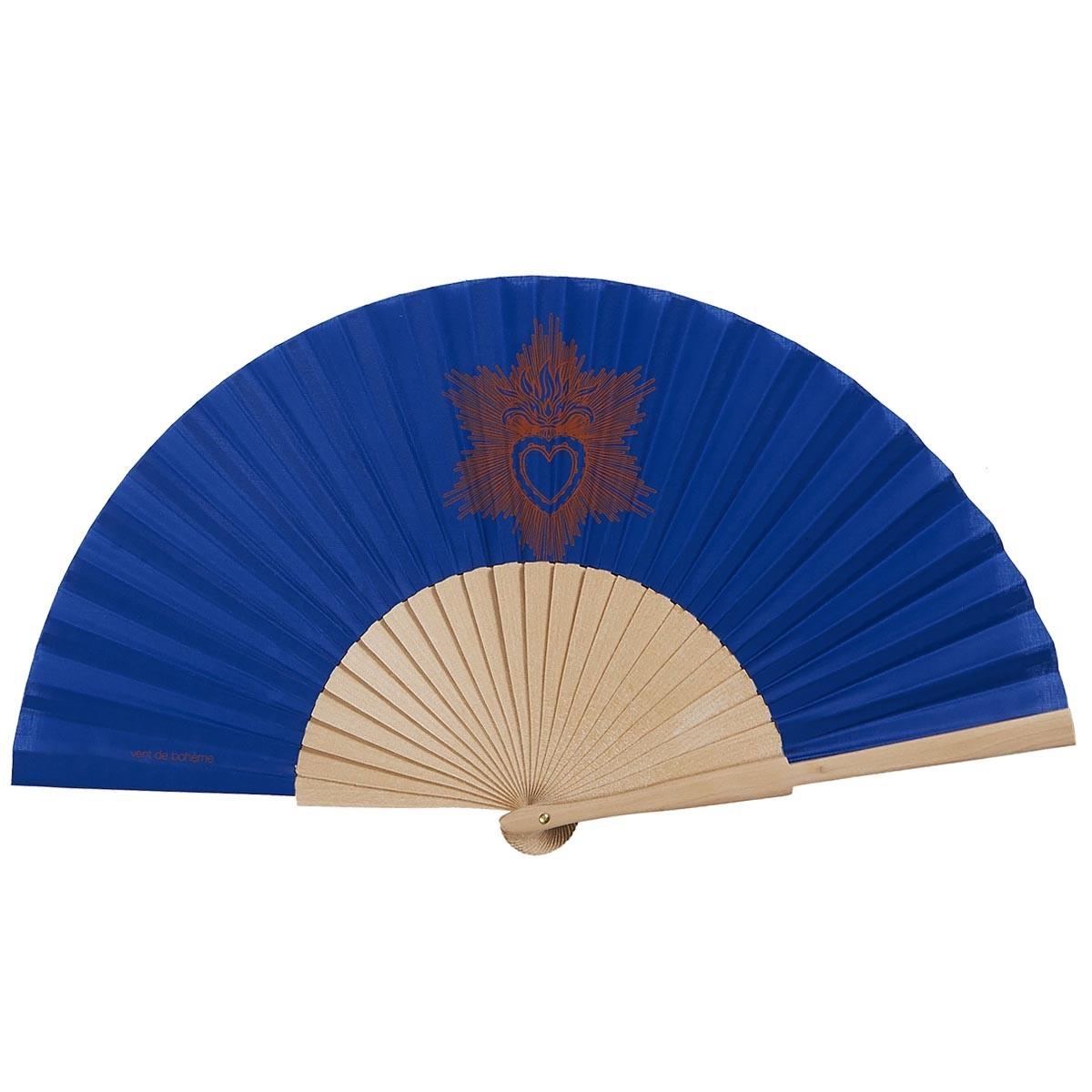 Éventail en bois de bouleau et coton sérigrahié bleu