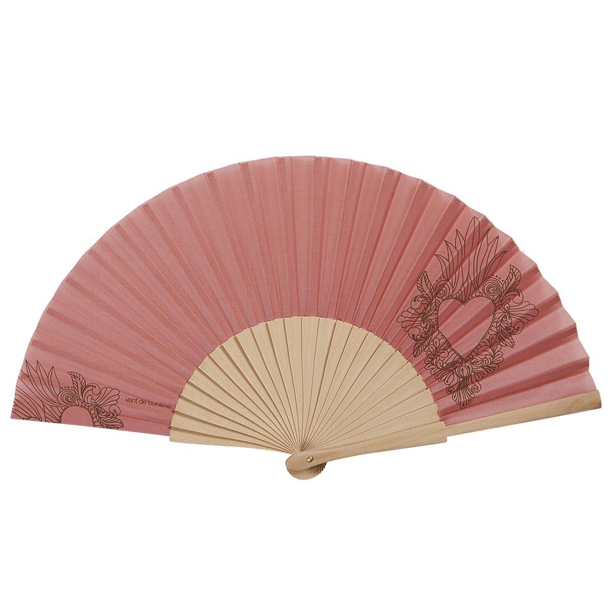 Éventail en bois de bouleau et coton sérigrahié rose