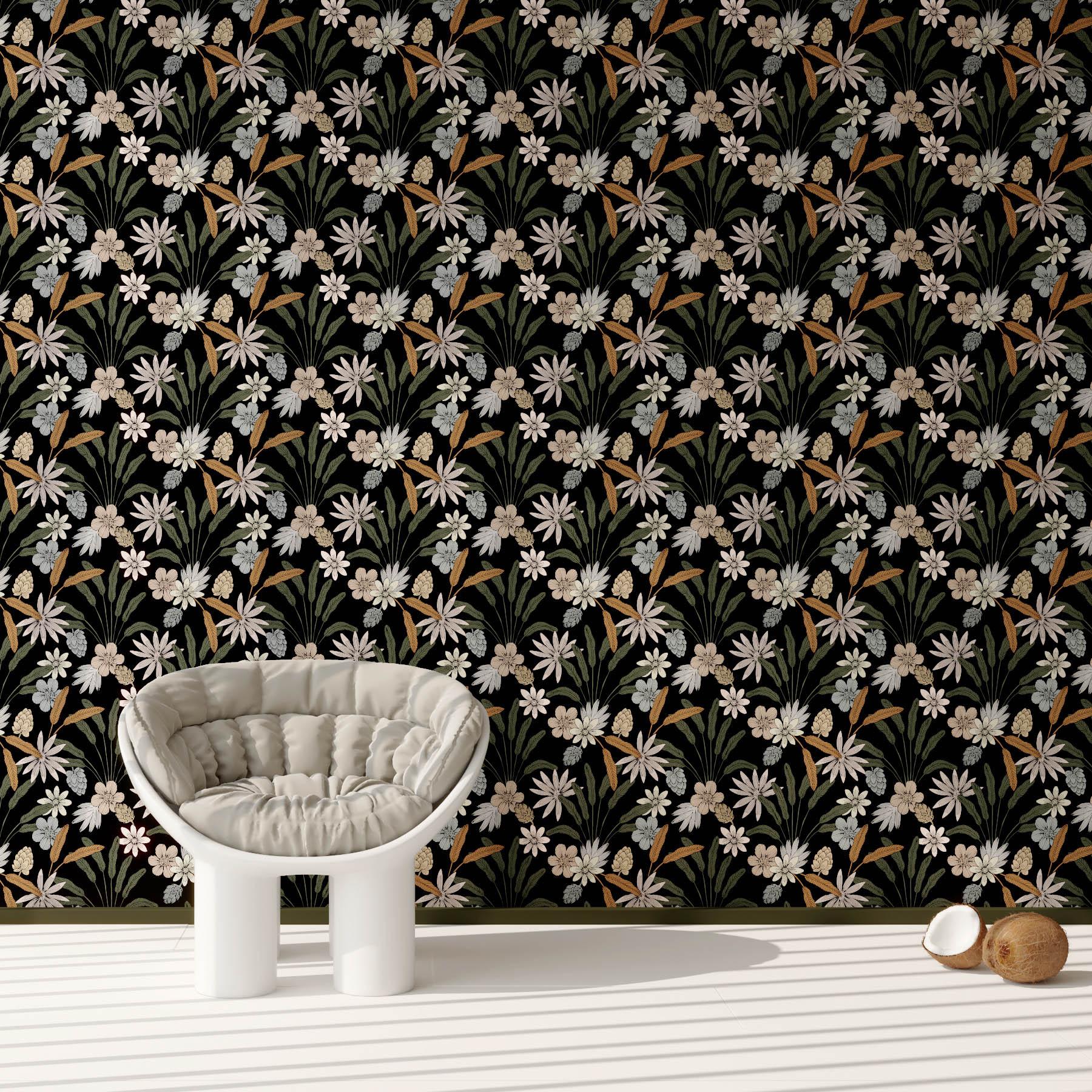 Rouleau de papier peint imprimé fleuri