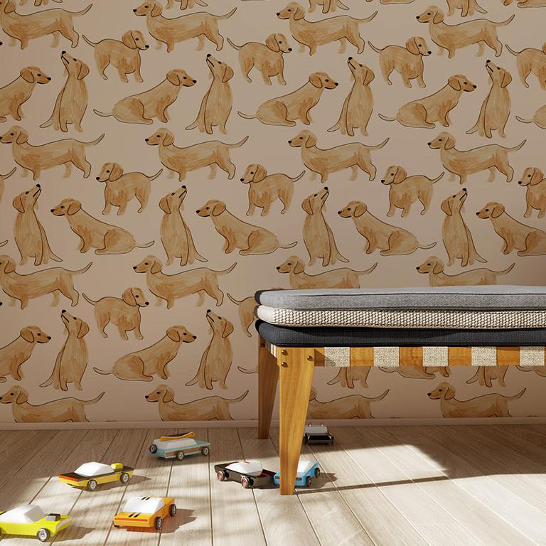 Rouleau de papier peint imprimé petits chiens
