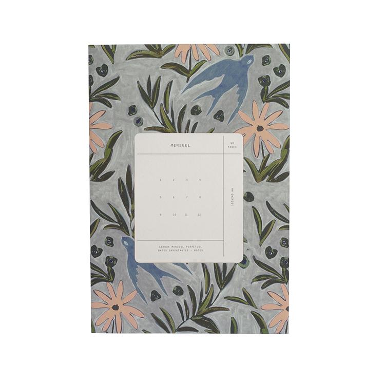 Mensuel imprimé fleuri gris