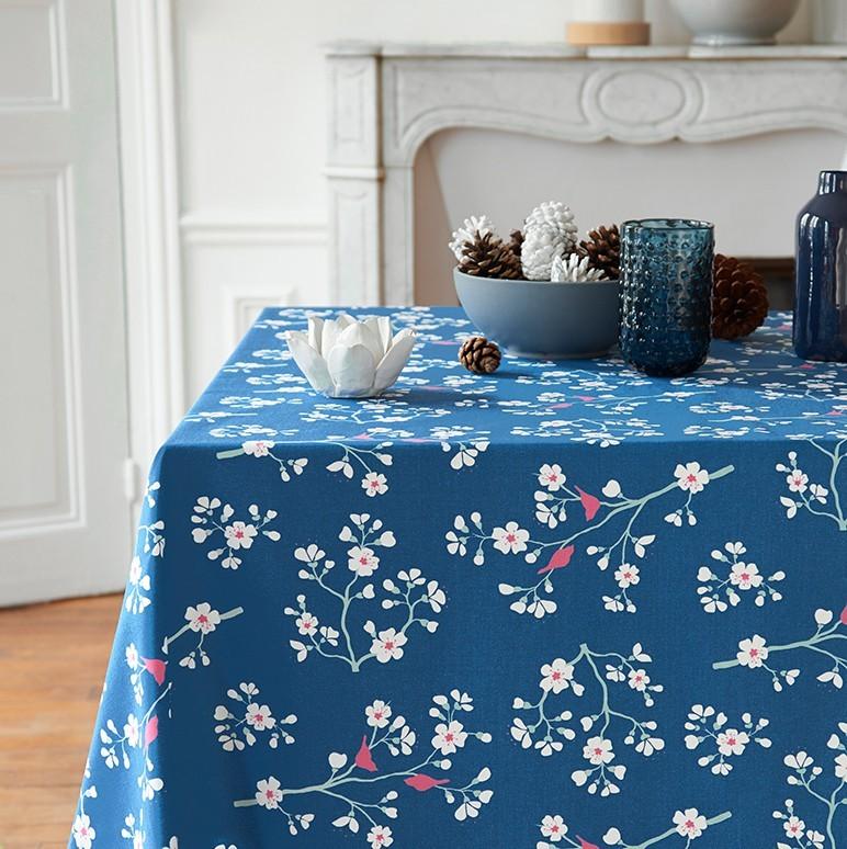 Nappe enduite carrée 160 x 160 cm bleu