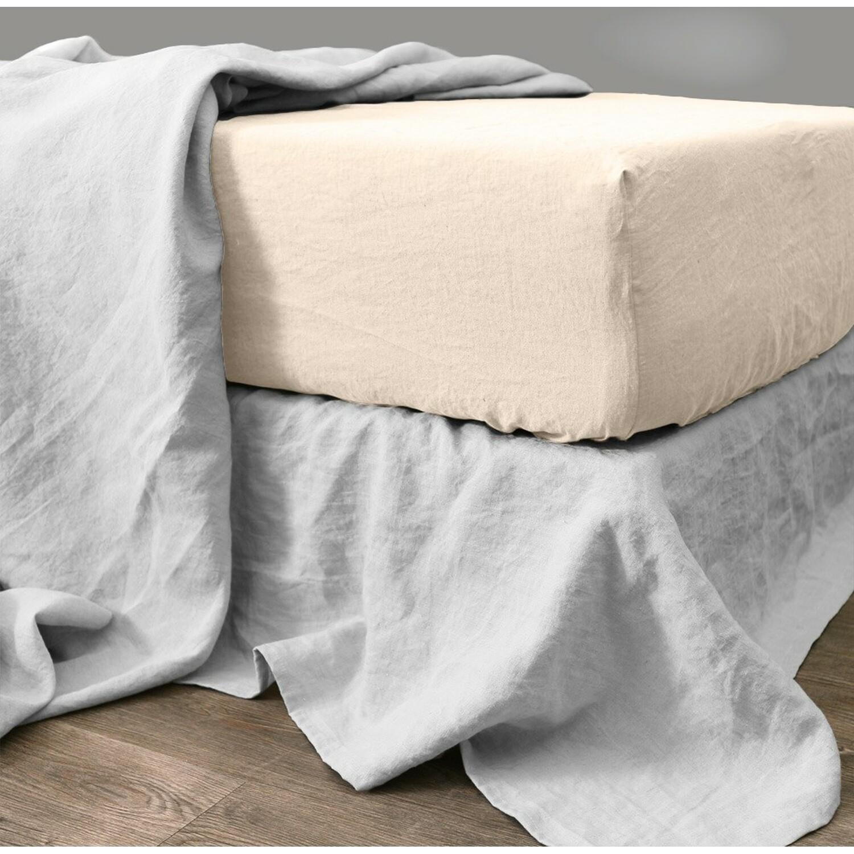 Drap Housse en lin chambray 140x190x30 Crème
