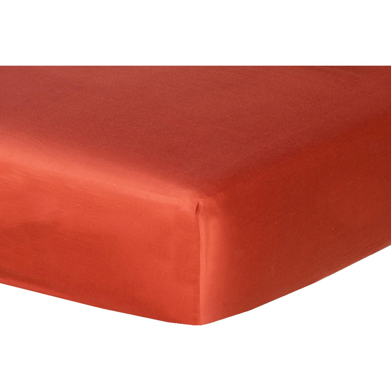 Drap housse en satin de coton 180x200x40 Terracotta