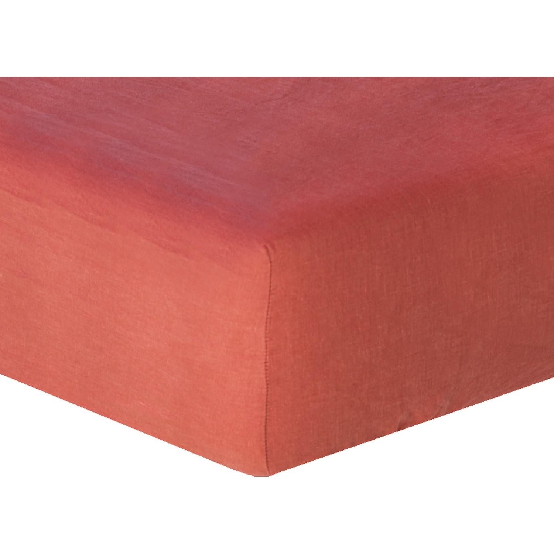 Drap housse en lin lavé 140x190x30 Terracotta