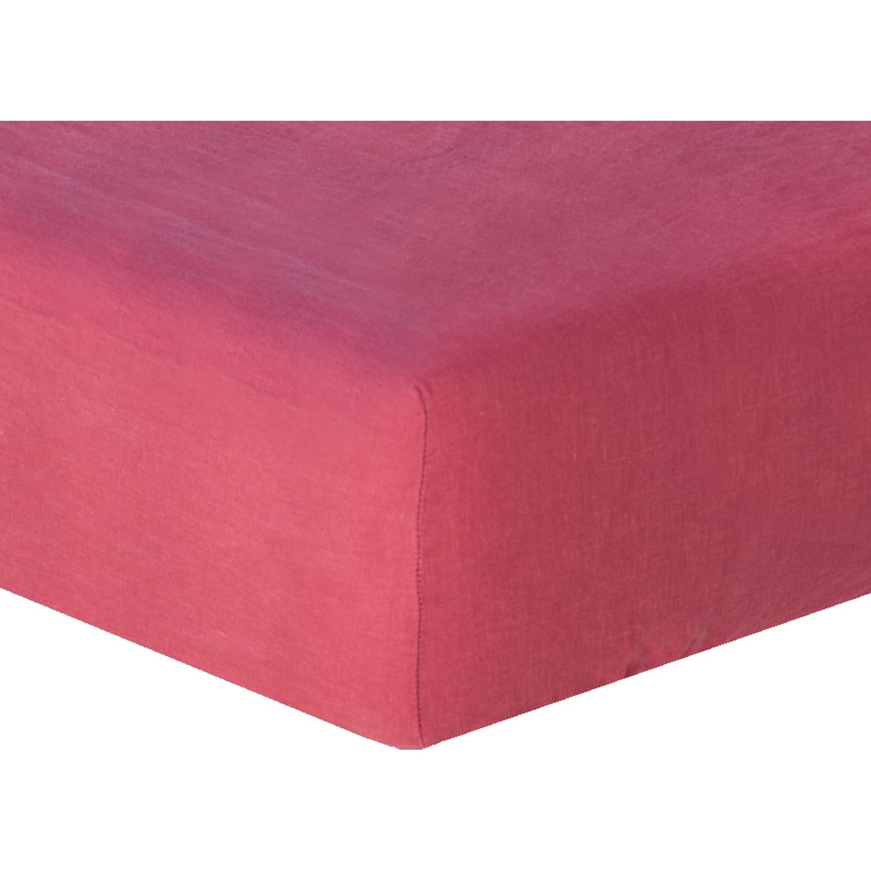 Drap housse en lin lavé 140x190x30 Rose framboise