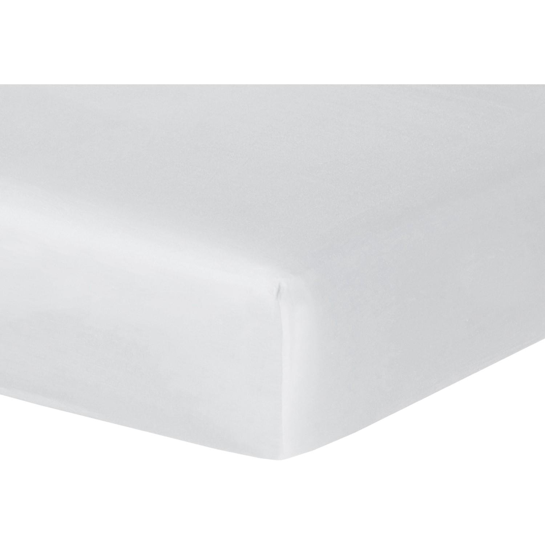 Drap housse en satin de coton 140x190x30 Blanc