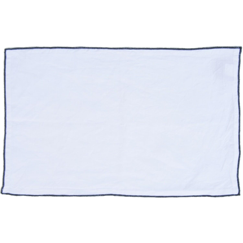 2x Sets de table en lin lavé 30x50 Blanc et noir