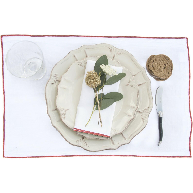 2x Sets de table en lin lavé 30x50 Blanc et terracotta