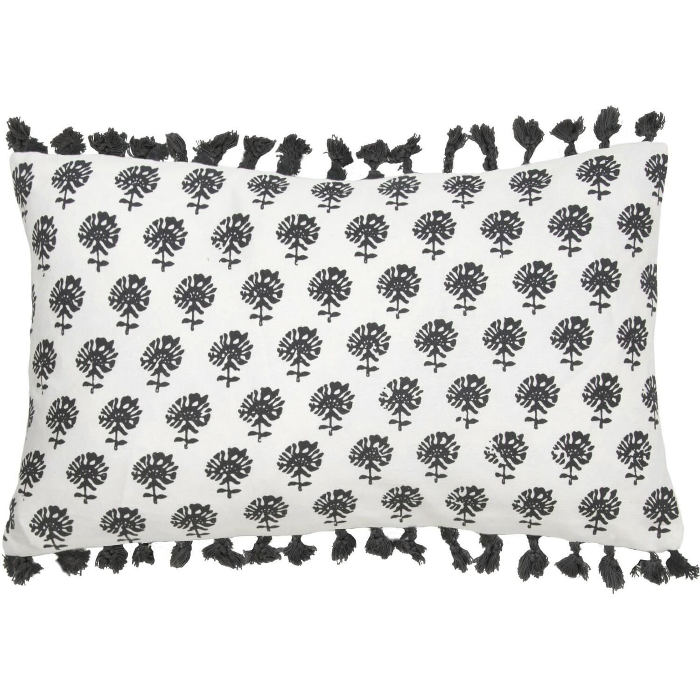 Housse de coussin en coton 50x30 Noir
