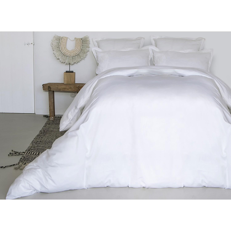 Housse de couette en satin de coton 200x200 Blanc