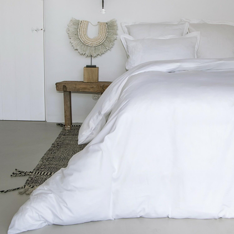 Housse de couette en satin de coton 260x240 Blanc