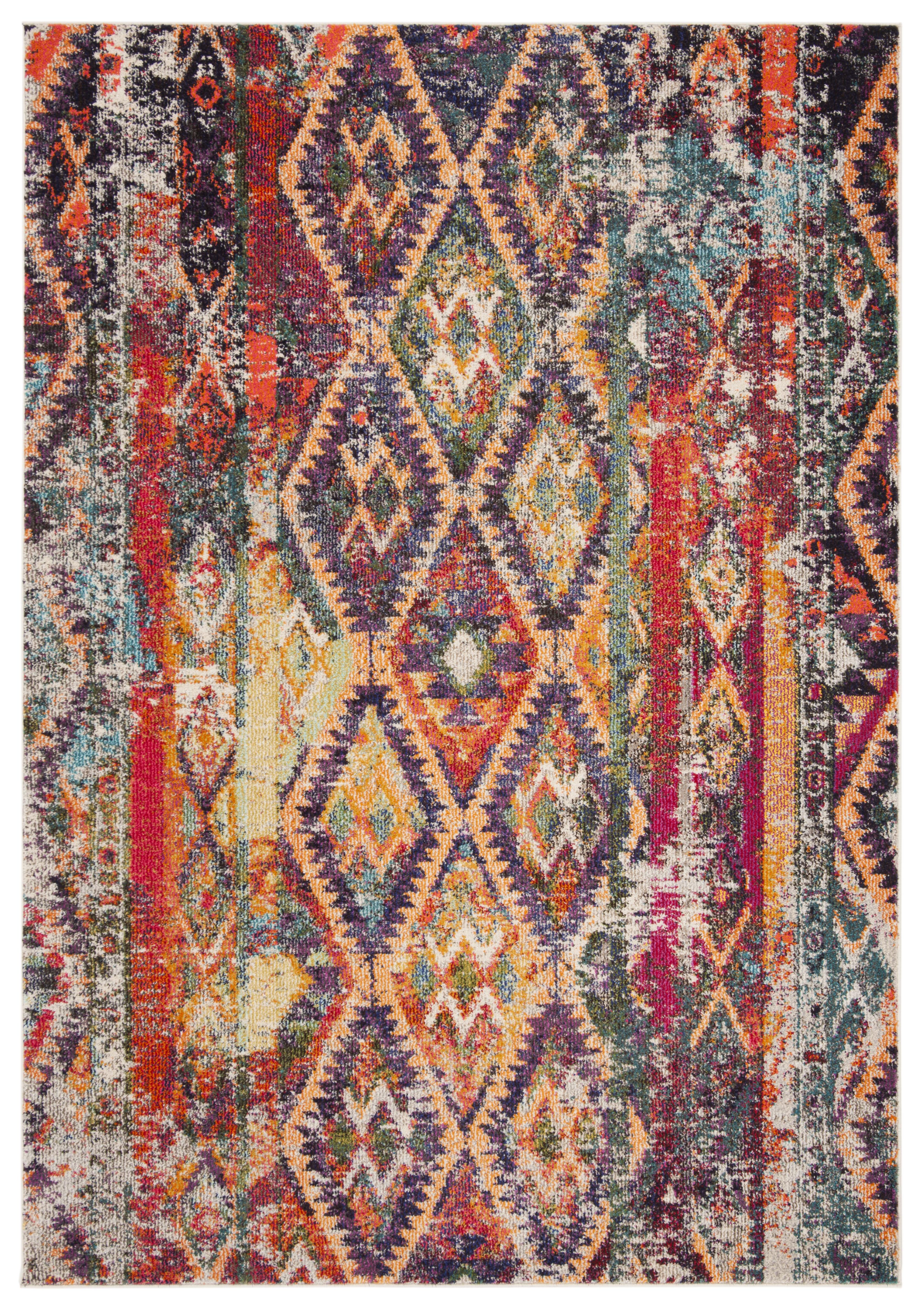 Tapis de salon contemporain violet et orange 154x231