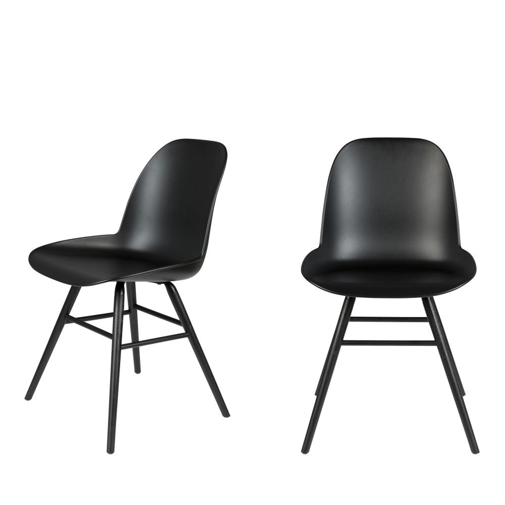 2 chaises résine et bois pieds noirs noir
