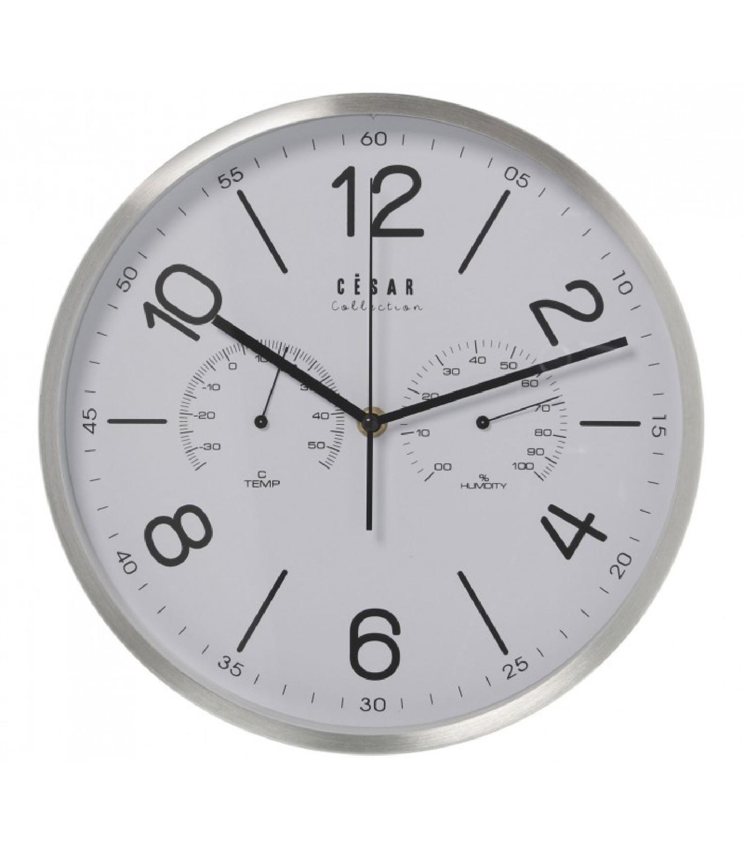 Horloge murale métal brossé thermomètre et hygromètre D30