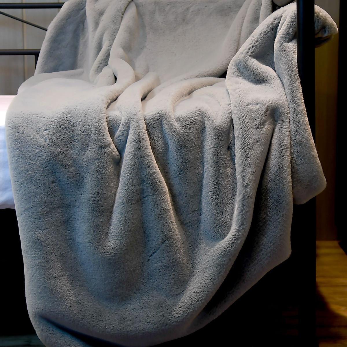 Plaid fausse fourrure  Gris 130x170 cm