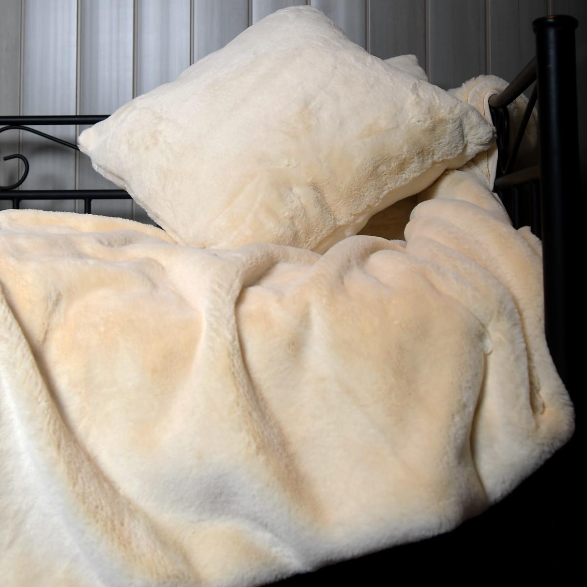 Plaid fausse fourrure  Ecru 130x170 cm