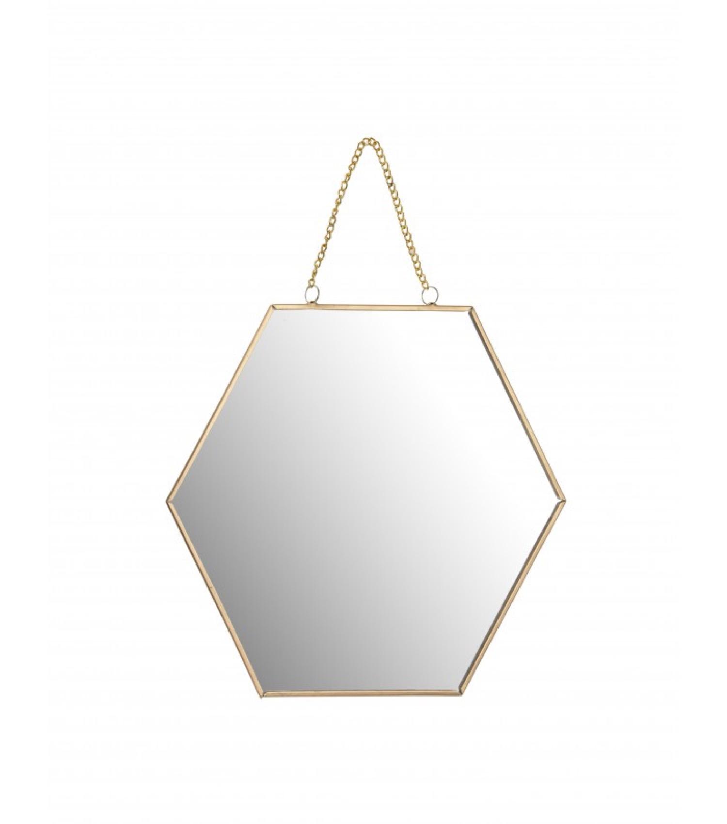 Miroir doré suspendu avec chaînette 20x18