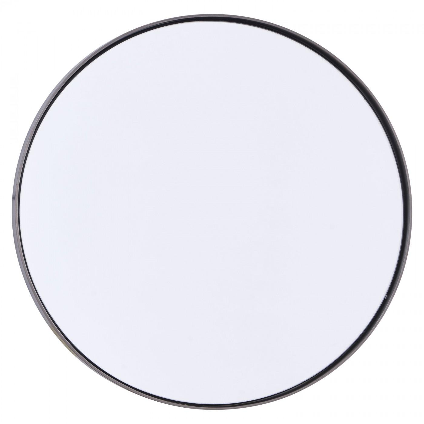 Miroir rond bord noir patiné D40