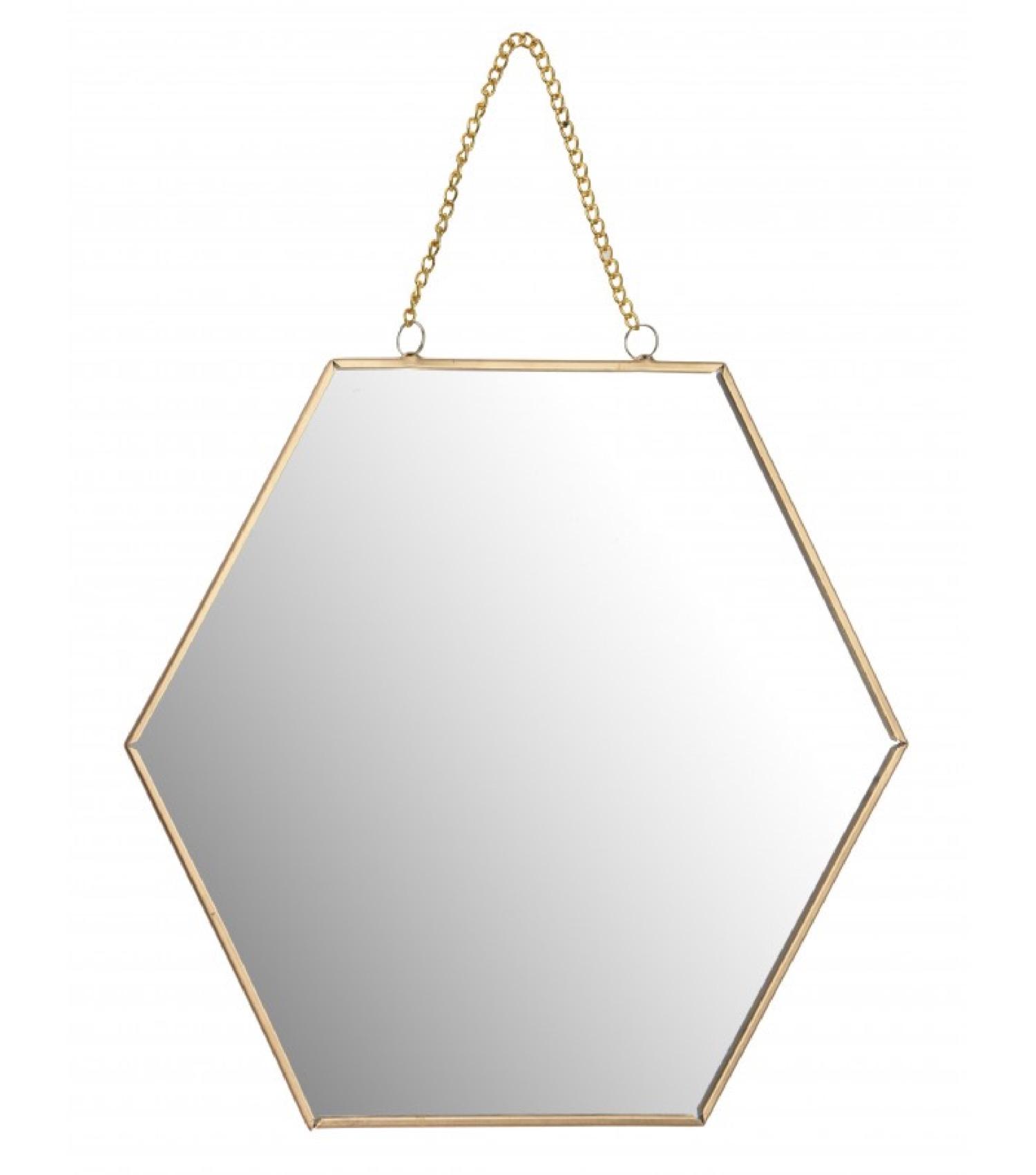 Miroir doré suspendu avec chaînette 30x26