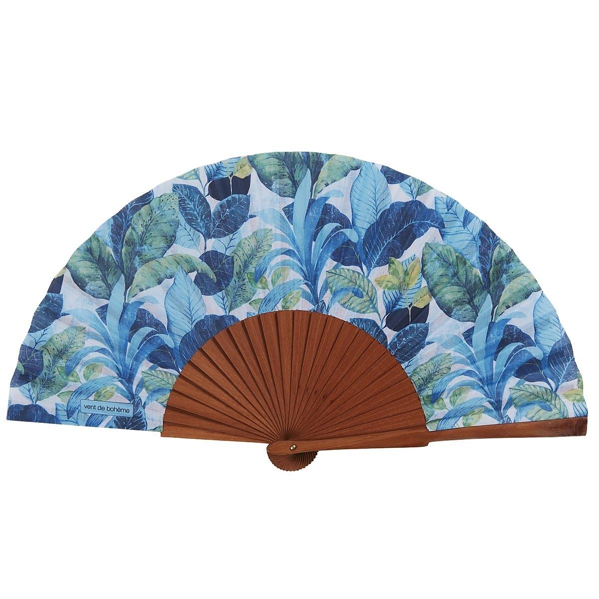 Éventail en bois de merisier et coton fleuri turquoise