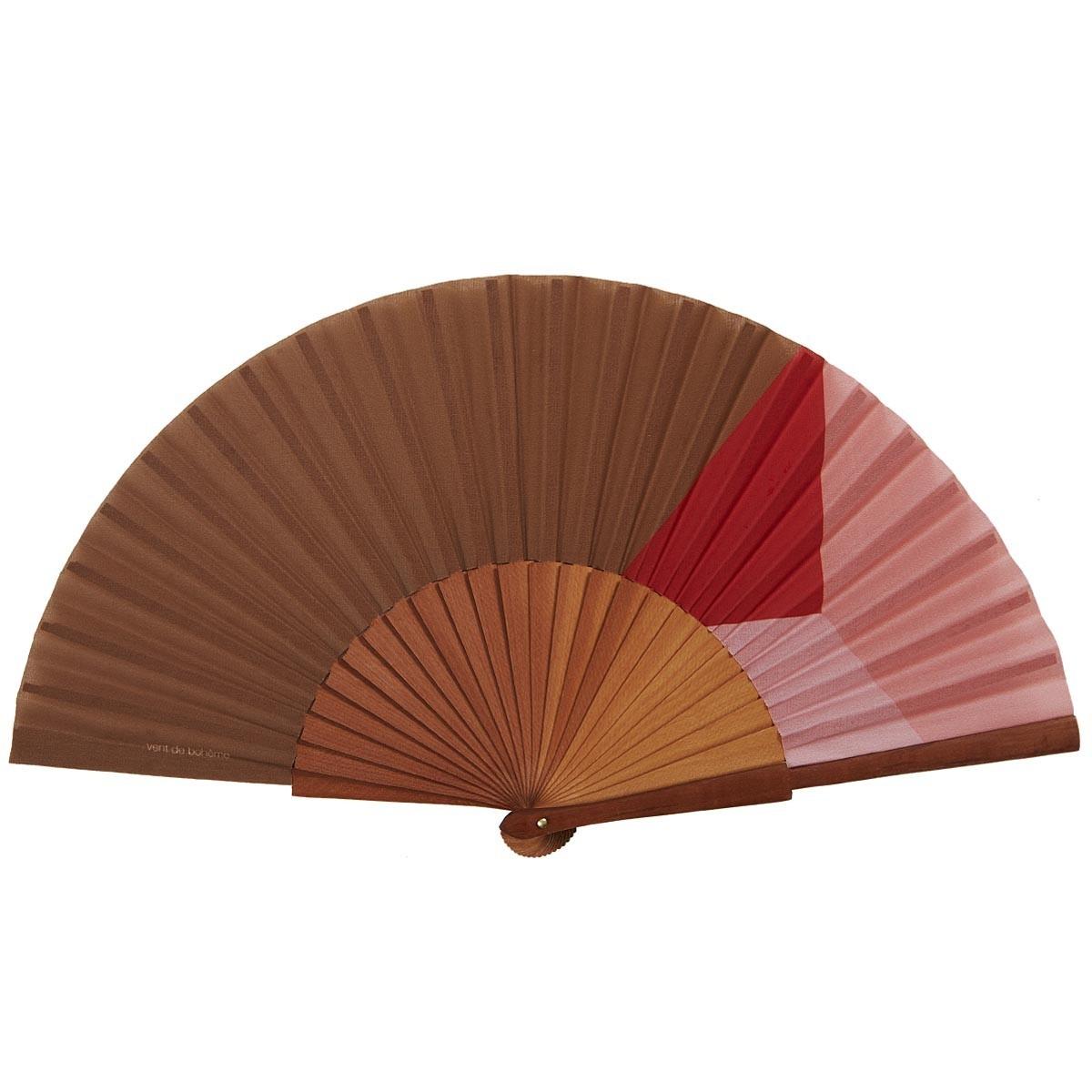 Éventail en bois de merisier et coton imprimé orange