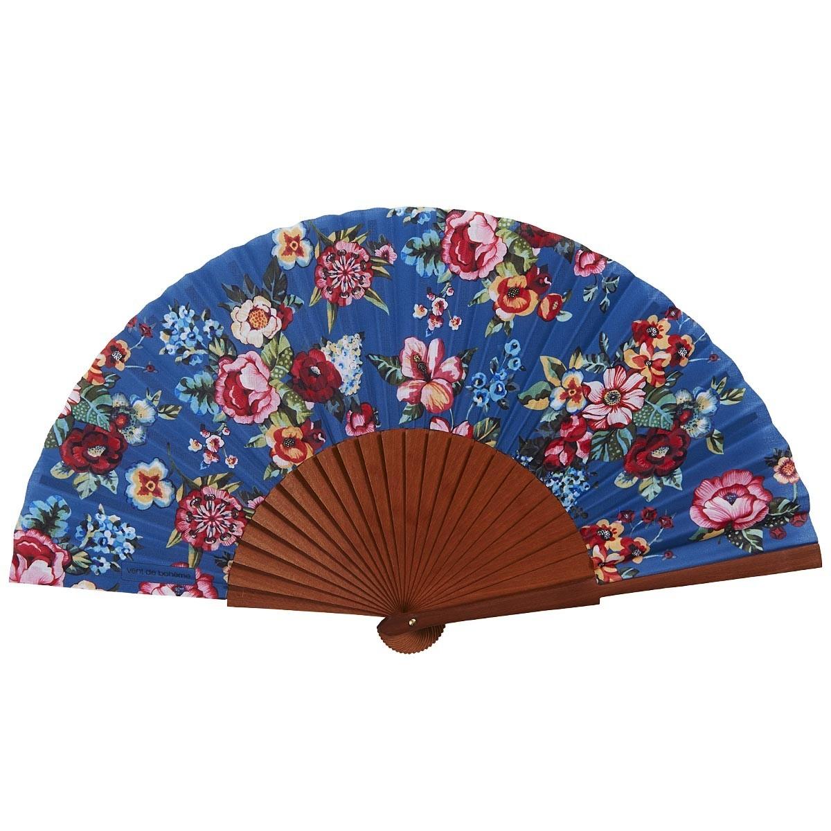 Éventail en bois de merisier et coton imprimé fleuri bleu