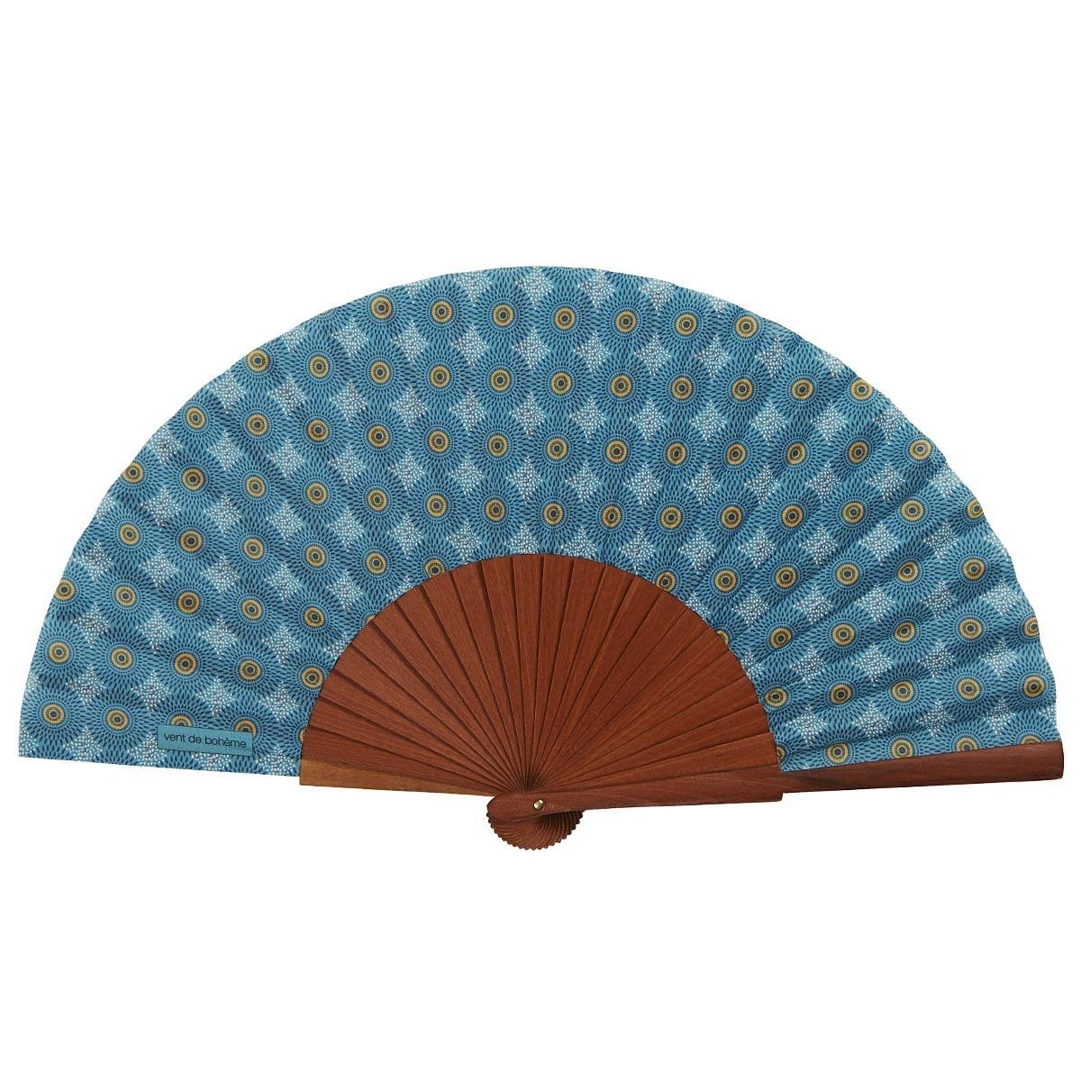 Éventail en bois de merisier et coton imprimé turquoise