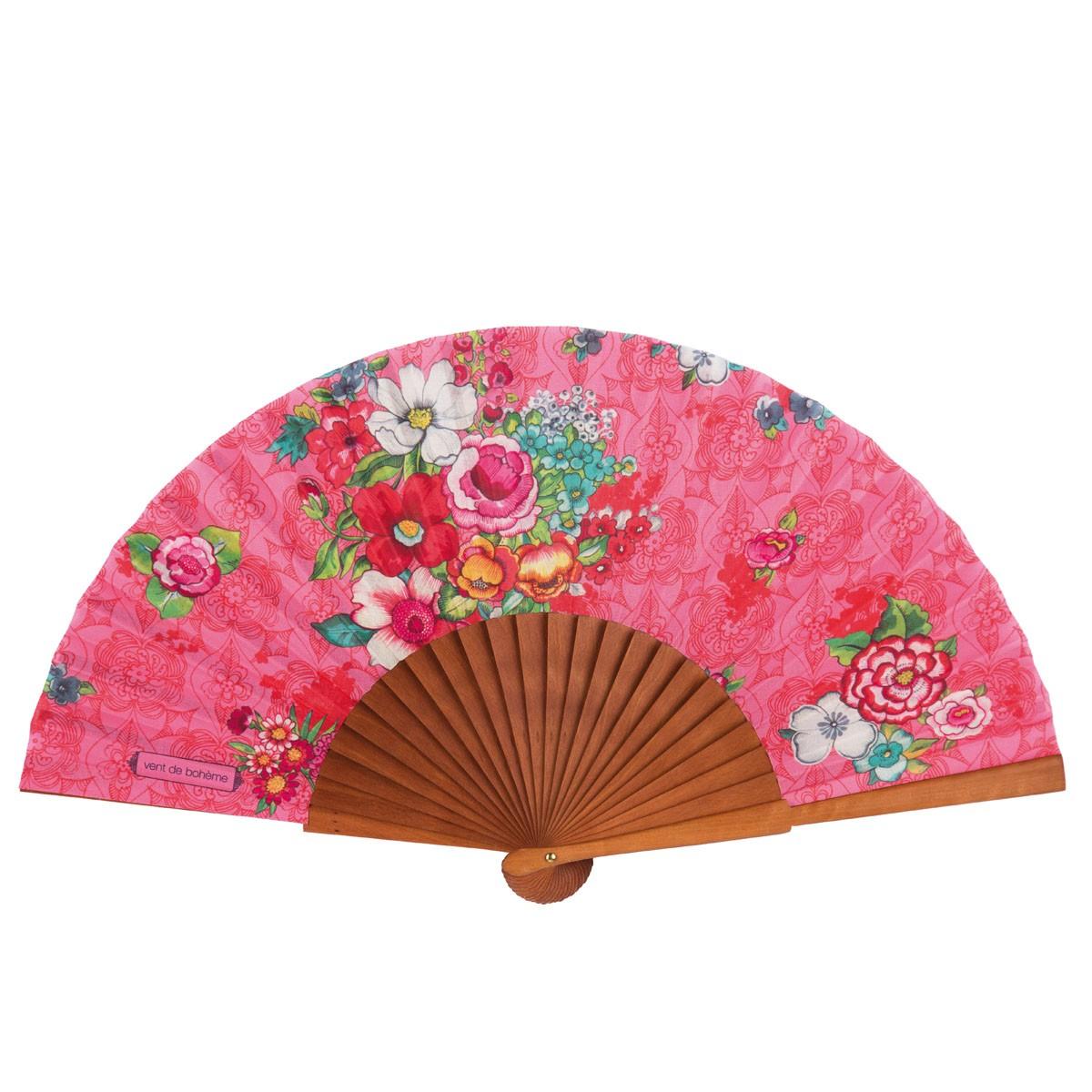 Éventail en bois de merisier et coton imprimé fleuri rose