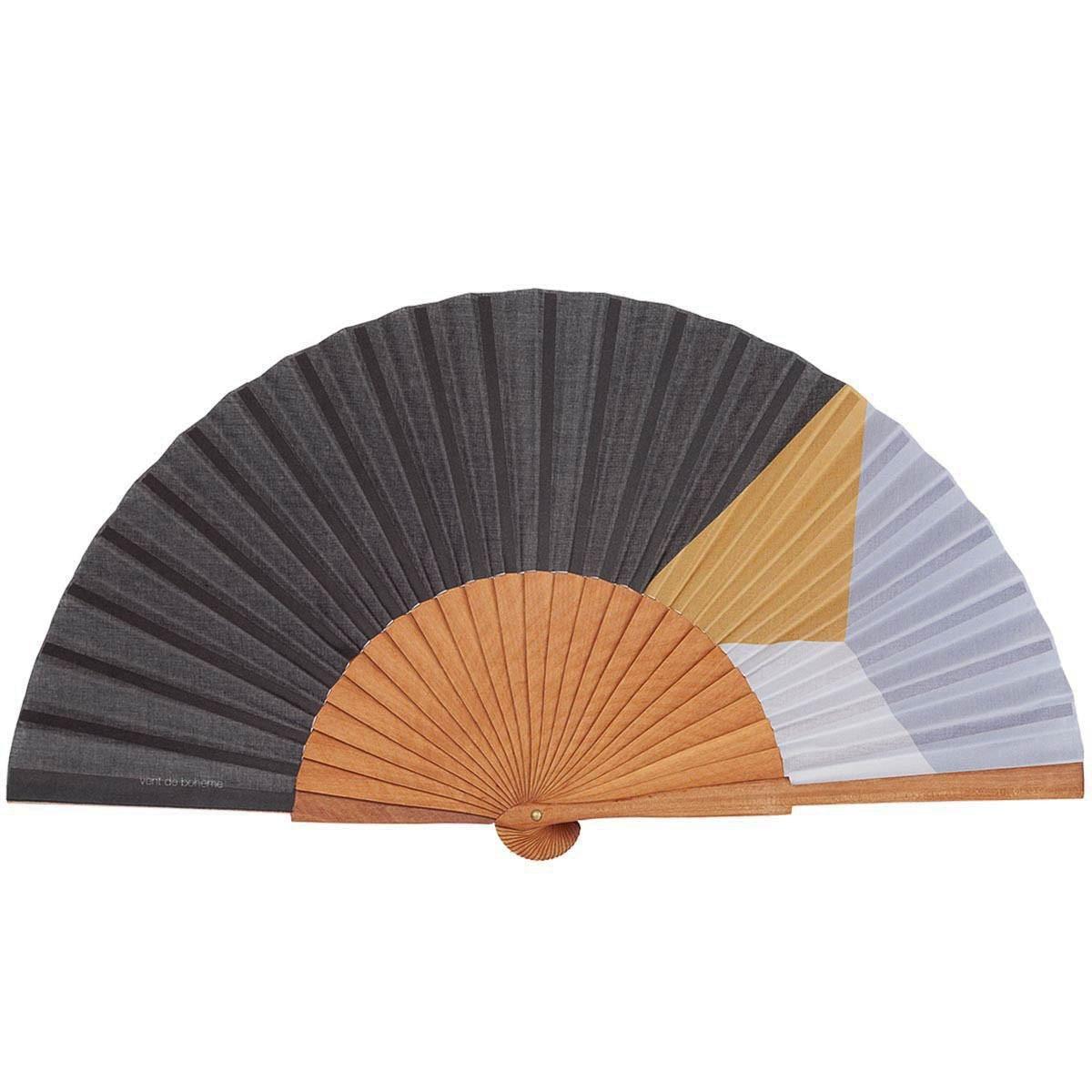 Éventail en bois de merisier et coton imprimé noir